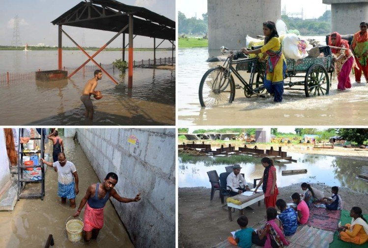 delhi flood in pictures biggest flood like situation as yamuna level rises above danger mark