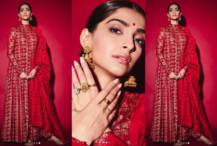 sonam kapoor most beautiful look in masaba gupta red anarkali