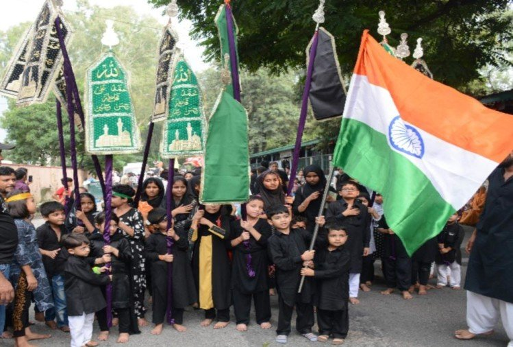Muharram 2019 Tajiya julus with Tricolour in dehradun