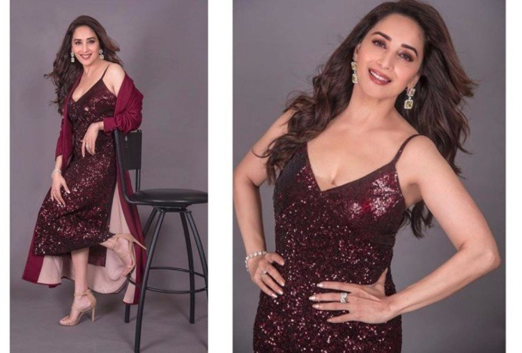 madhuri dixit glamorous look in wine red shimmer dress for iifa press conference 2019