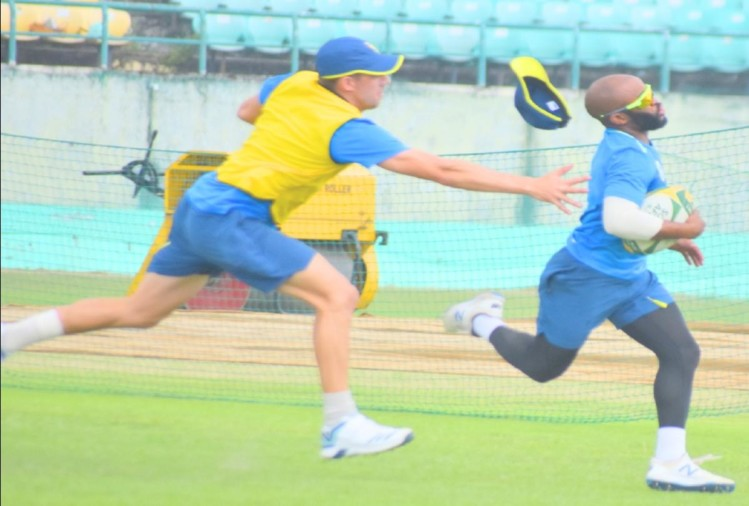 Players of South African team practicing in Dharamshala for t20 match with india
