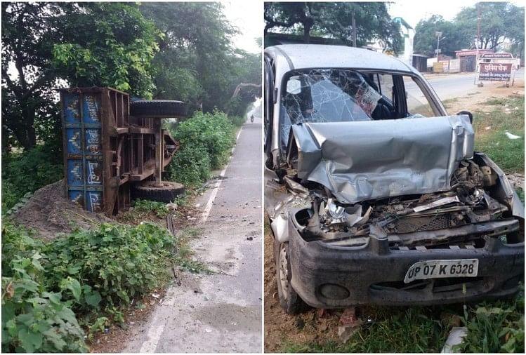 अलीगढ़ के खैर इलाके में रविवार रात एक बाइक और कार भीषण सड़क दुर्घटना का शिकार हो गए। सोमना रोड पर खड़े सरिया से लदे एक ट्रॉली में बाइक और सेंट्रो कार घुस जाने के कारण दो लोगों की मौत हो गई और तीन अन्य घायल हो गए।