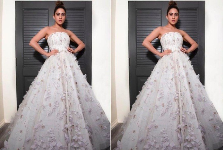 sara ali khan looks fairy in white princess gown at iifa awards 2019