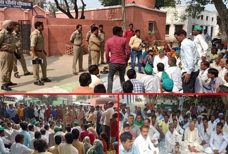 पुलिस द्वारा एक व्यक्ति के घर दबिश के नाम पर जमकर उत्पात मचाने और परिवार की महिलाओं के साथ अभद्रता करने का आरोप लगाते हुए ग्रामीणों ने पुलिस चौकी पर प्रदर्शन किया-