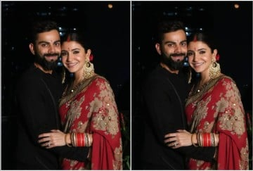 anushka sharma looks elegant in red chiffon saree for karva chauth celebration 2019