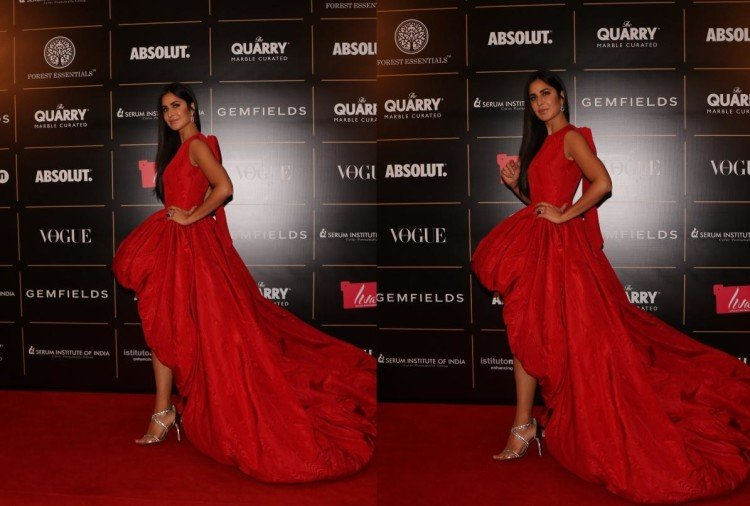 katrina kaif in red ball gown at vogue women of the year award 2019