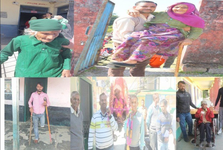 by election: elderly and divyang voter reached polling station on  palanquin and a wheelchair