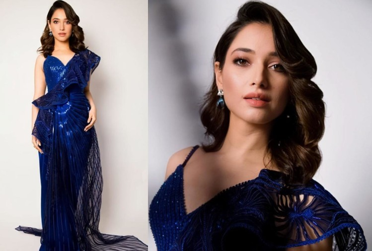 tamannaah bhatia slays in amit agarwal blue unique saree outfit