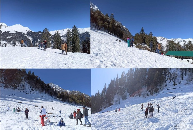 Tourist Influx in snow-logged valleys of manali himachal , see spectacular pictures