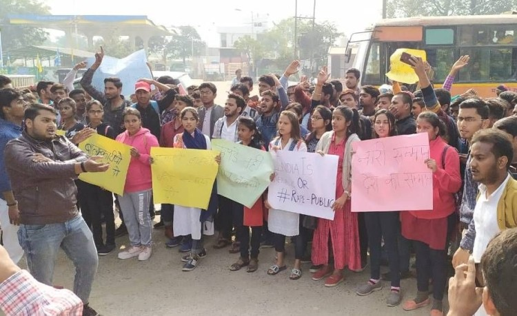 Students protested against Hyderabad Case