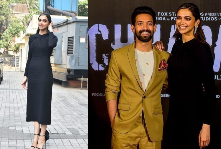 deepika padukone classy look in short hair black bodycon dress at chhapak promotion