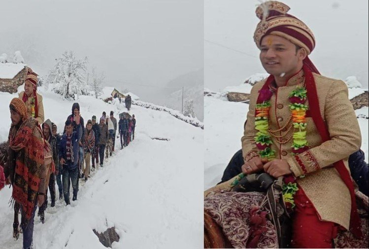 Groom walked and Going For marriage even heavy snowfall in uttarakhand chamoli