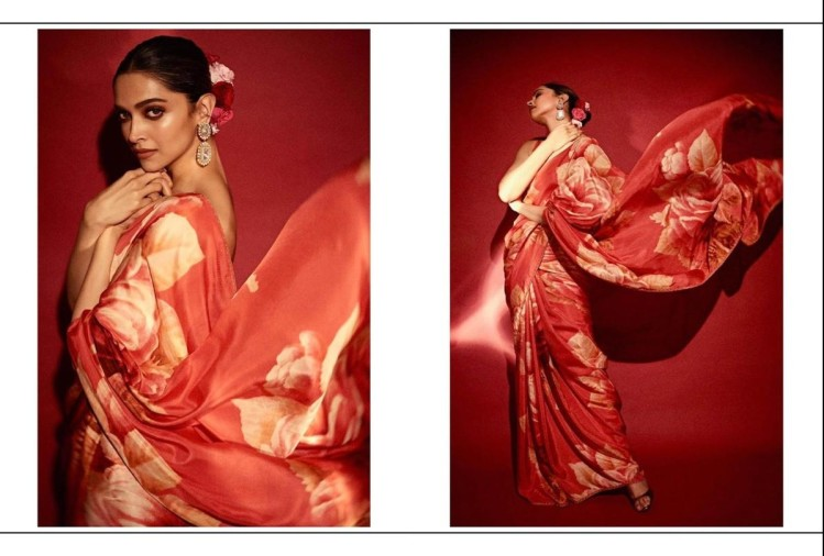 deepika padukone in red floral saree
