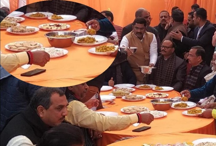 BJP leaders celebrate tahri bhoj on makar sankranti.