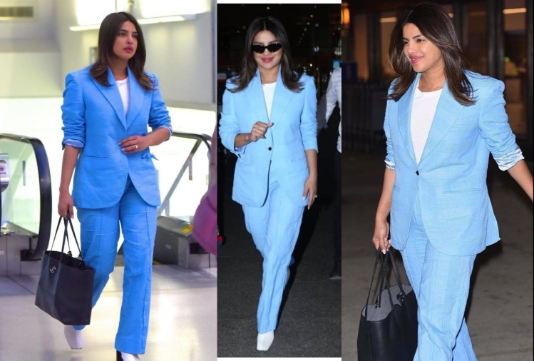 priyanka chopra arrives mumbai in sky blue pant suit