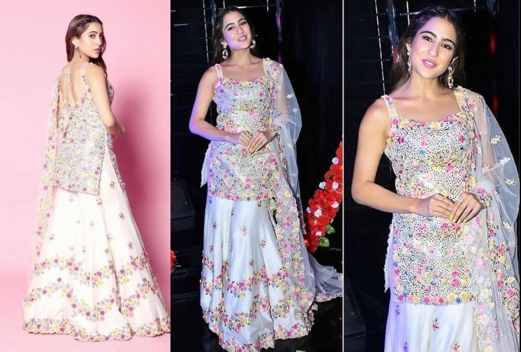 sara ali khan look beautiful in white floral outfit in indian idol 11