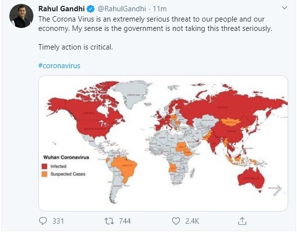 Image result for Controversy over Rahul Gandhi's tweet on Coronavirus, showed Jammu and Kashmir part of Pakistan