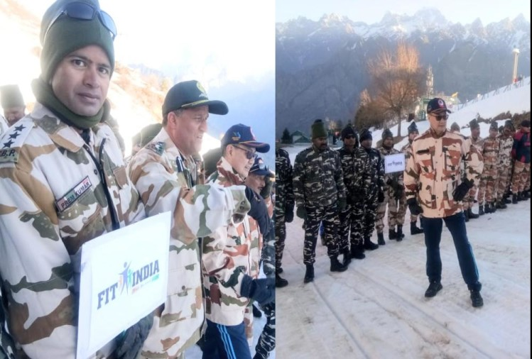 Union Minister kiren Rijiju Doing Morning walk with ITBP Soldiers, Gives Fit india Slogan in Auli