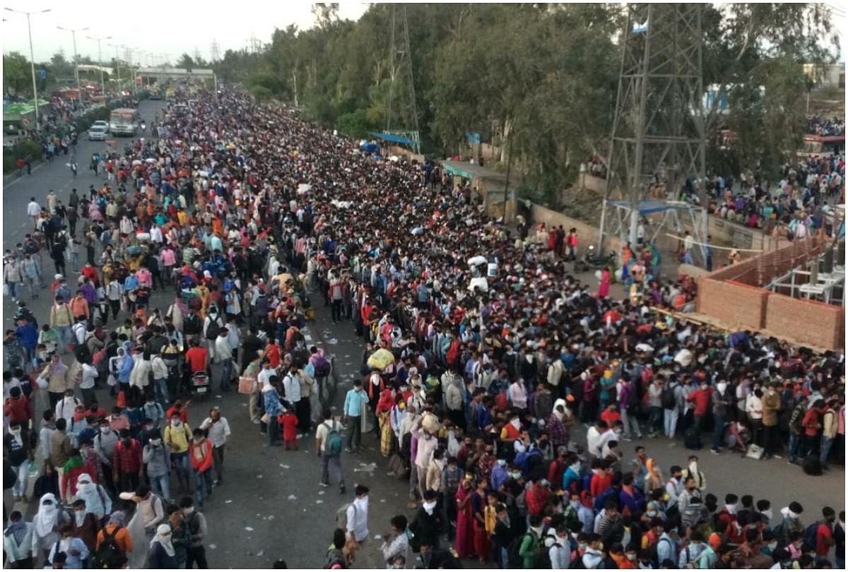 Coronavirus Lockdown In Delhi Ncr Fourth Day New Positive Cases In Delhi  Ghaziabad Gurugram Noida Greater Noida Faridabad - दिल्ली: आनंद विहार और  धौला कुआं पर प्रवासी मजदूरों की भारी भीड़, साधनों