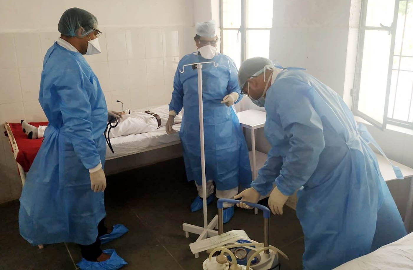 कोरोना वायरस से प्रभावित होने वाले मरीजों से निपटने की रिहर्सल करते लेबल वन अस्पताल सीएचसी कुरा?