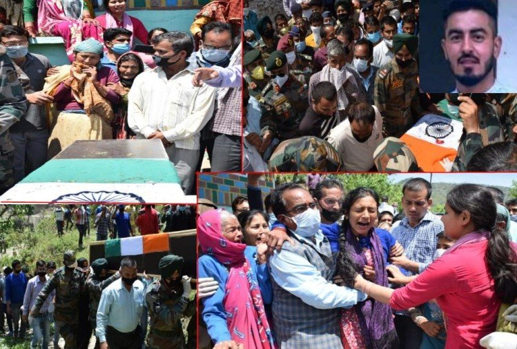 Handwara Encounter: Martyr Dinesh singh Funeral, family crying Emotional Photos