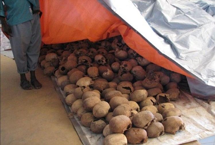 न्यामता नरसंहार स्मारक में रखी लोगों की खोपड़ियां, रवांडा