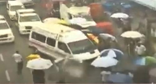 Ambulance carrying mortal remain of Sushant
