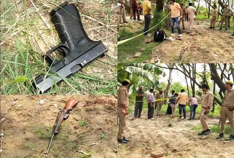 पुलिस को जंगल में मिले हथियार