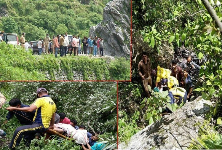 Noida Tourist Innova Car Fell into ditch in Mussoorie, Two Family members killed, Photos
