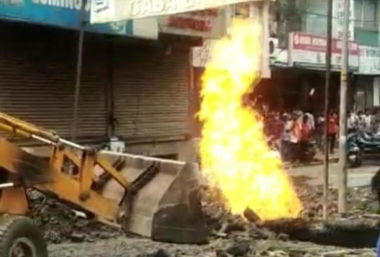 JCB machine was Digging fire flames suddenly started coming out from ground