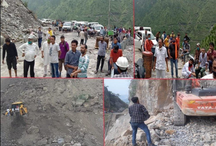 Badrinath highway closed from two days, stones falling continuously from Rock, passengers Stuck