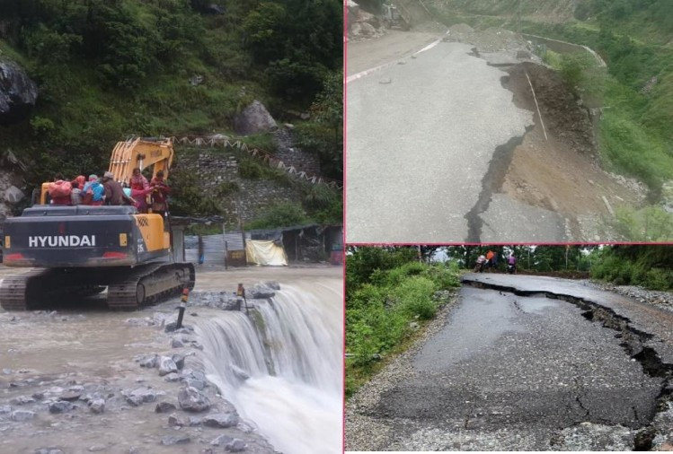 Weather Today Forecast Report Uttarakhand: Pusta Collapsed on Badrinath Highway, People cross overflow Drain sitting on jcb