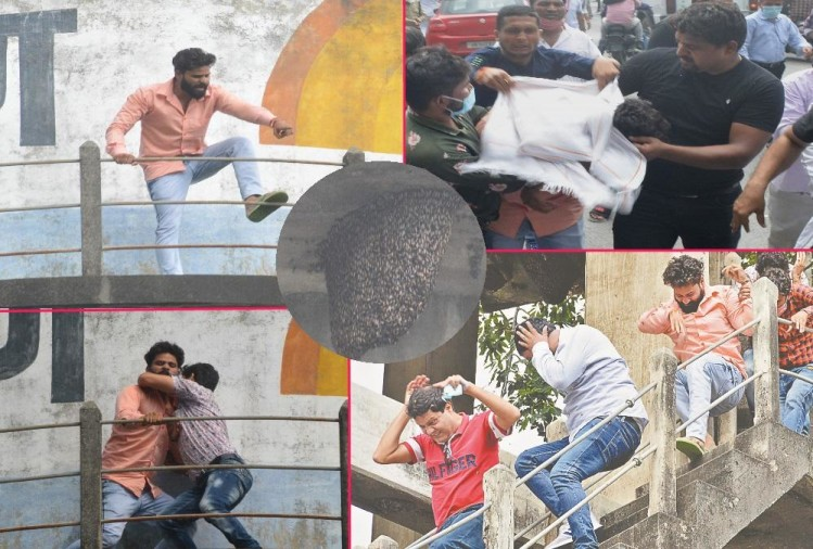 Uttarakhand: Parshad climb on Water tank for fees issue, Honey Bee Attack on him in haldwani