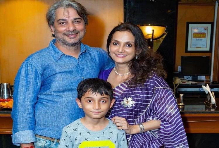 पति वरुण बडोला और बेटे के साथ राजेश्वरी सचदेवा