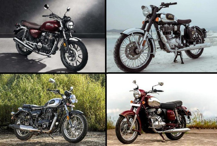 Honda highness CB350, Royal Enfield Classic 350, Benelli imperial 400 and Jawa classic