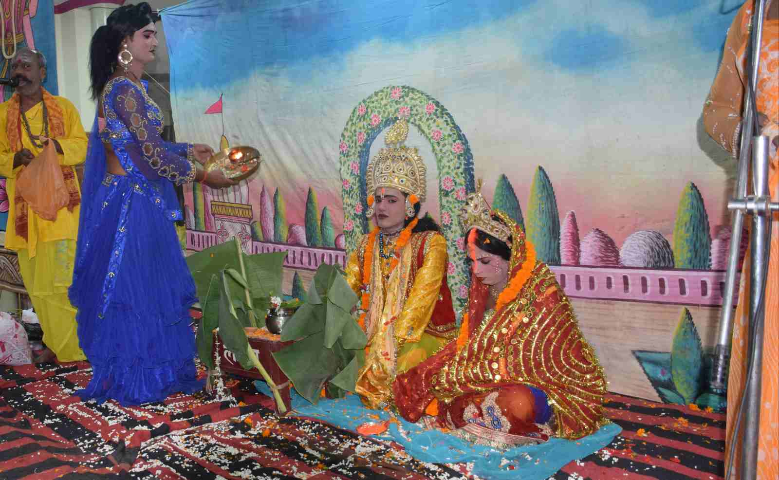पुरानी कोतवाली में चल रही श्रीरामलीला में श्रीराम विवाह का दृश्य।