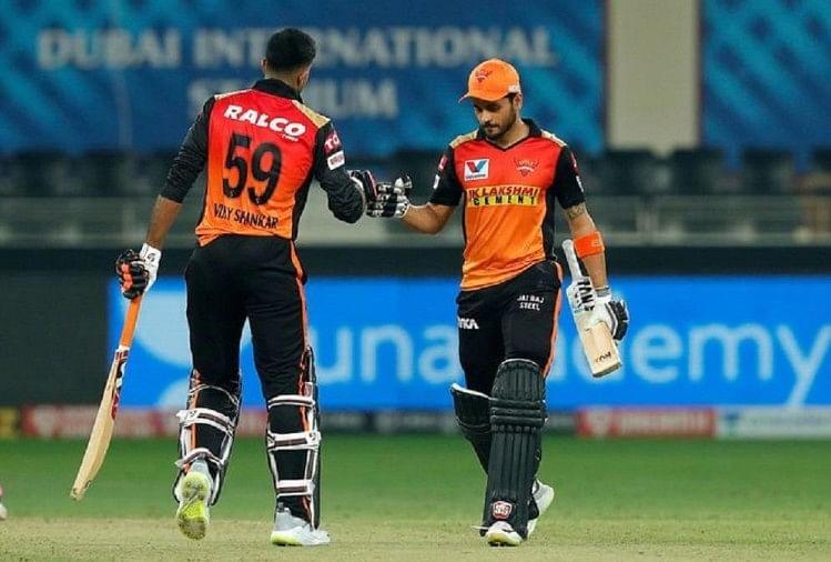 Manish Pandey And Vijay Shankar Creates History, 24th 100 Plus Partnership For Srh In All Ipl Since Their Entry In 2013 - Ipl 2020: मनीष पांडेय-विजय शंकर की जोड़ी ने रचा इतिहास,