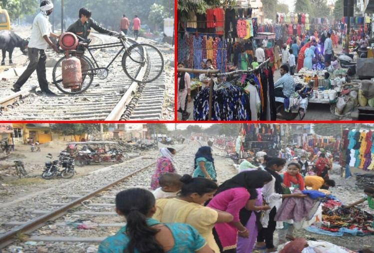 market on railway line