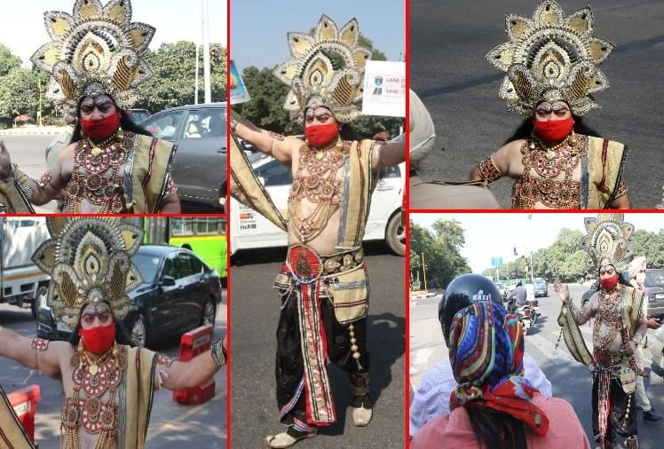 Ravana aware to people about traffic rules in Chandigarh