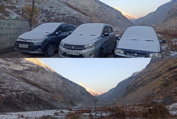Himachal News : fresh snowfall in lahaul spiti rohtang pass and hailstorm in sissu