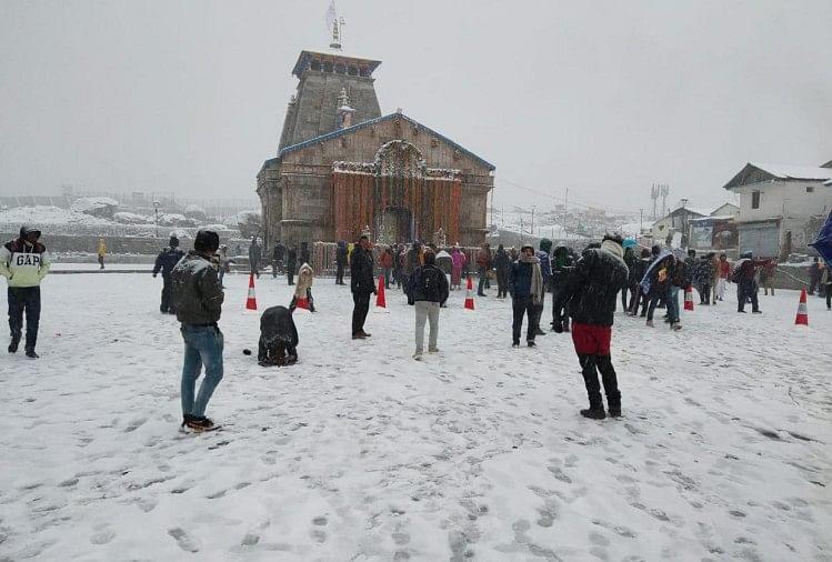 केदारनाथ में बर्फबारी