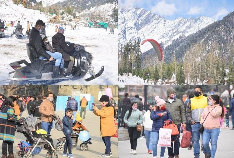 हिमाचल में बर्फबारी के चलते सैलानी कर रहे हैं शिमला और मनाली का रुख