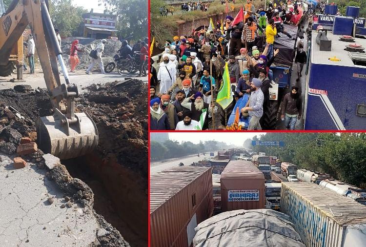Farmers Protest: Kisan Andolan Haryana, Many Roads Jam In Haryana -  तस्वीरें : दिल्ली की ओर किसानों का कूच...प्रशासन ने सड़कें खोदीं, हरियाणा  में भारी जाम की स्थिति - Amar Ujala ...