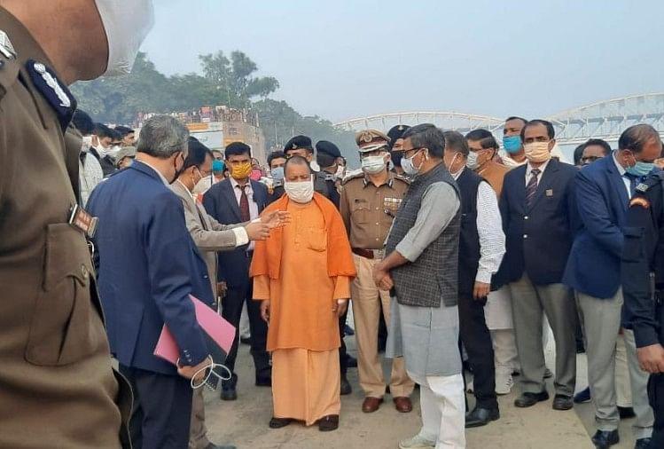 राजघाट पर तैयारियों का जायजा लेते सीएम योगी
