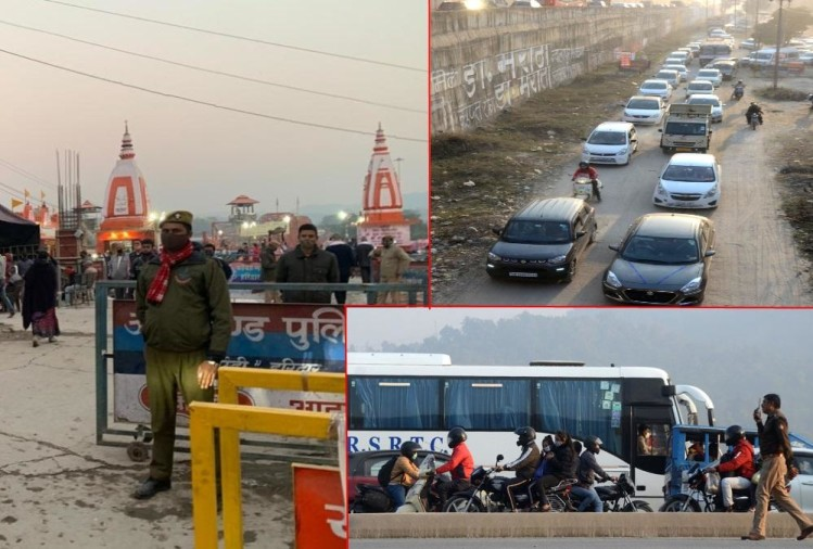 Kartik Purnima 2020: Haridwar Police put Barricades on har ki pauri and Other Ghat, Traffic jam on Highway Photos