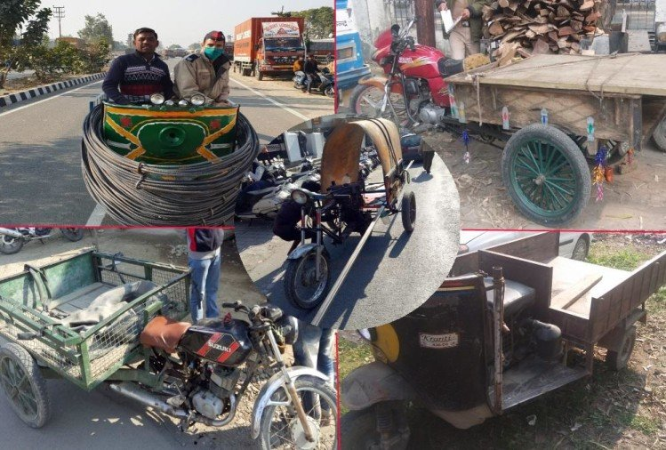 Uttarakhand RTO Enforcement Team Cutted Jugaad Vehicle during Campaign Photos