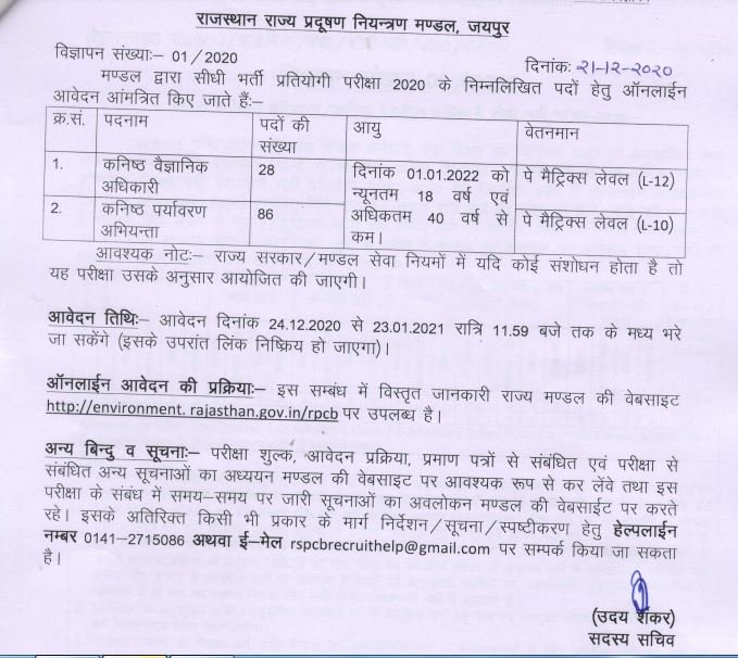 Recruitment in Rajasthan State Pollution Control Board