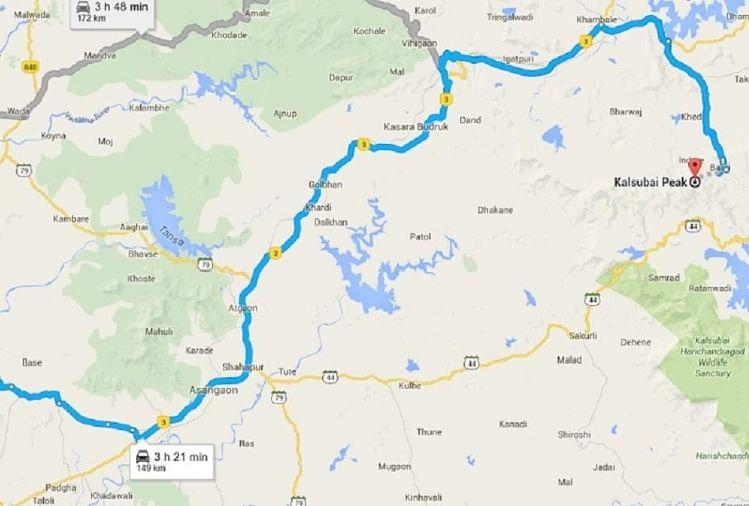 कालसुबाई चोटी का मानचित्र दर्शाता गूगल मैप