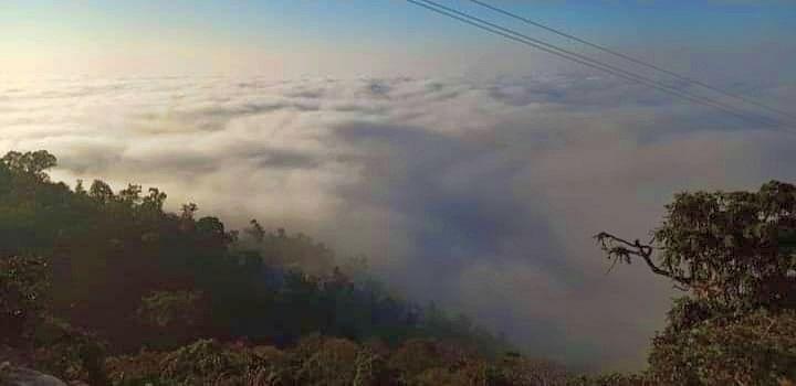 नाहन शहर में छाए कोहरे का विहंगम दृश्य।
