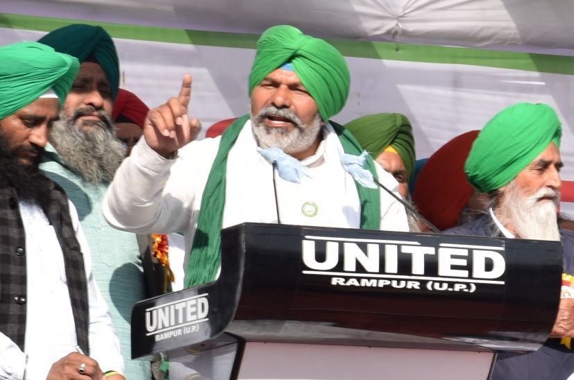 रुद्रपुर में किसान महापंचायत को संबोधित करते भाकियू नेता राकेश टिकैत।